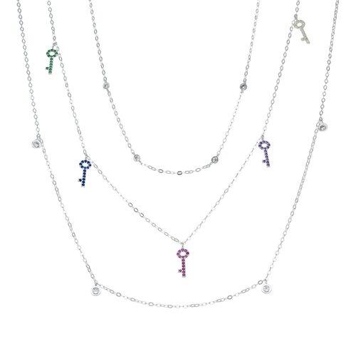 Collar Triple Llaves Circones Multicolor