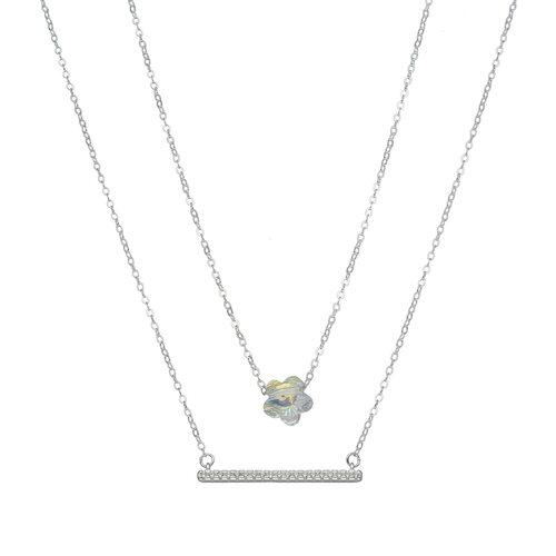 Collar Doble Circones y Flor Hecho con Cristal Swarovski®