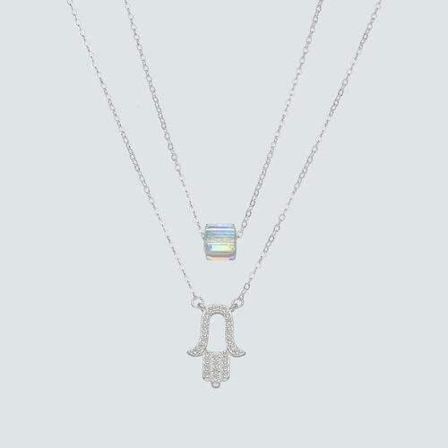 Collar Doble Mano de Fátima y Cubo Hecho con Cristal Swarovski®