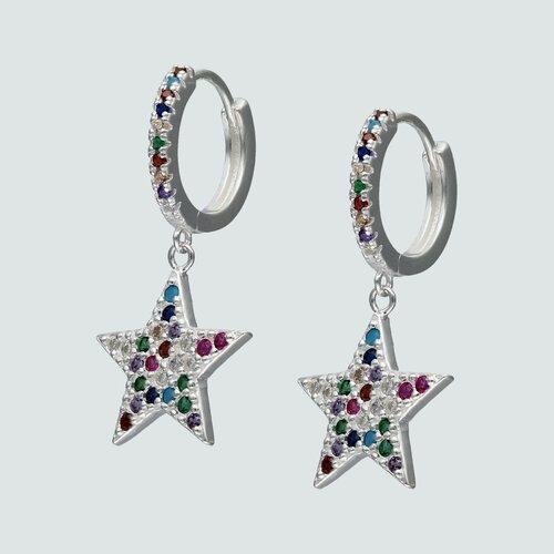 Argolla Huggie Estrella Circones Multicolor 14 mm