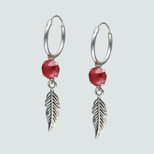 Argolla Pluma y Cristal Rojo 14 mm