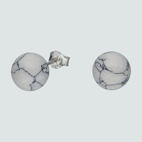 Aro Esfera Howlita Blanca 8 mm