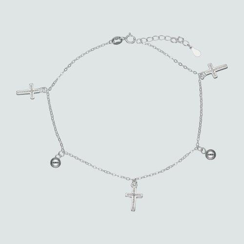 Tobillera Esferas Cruces Circones