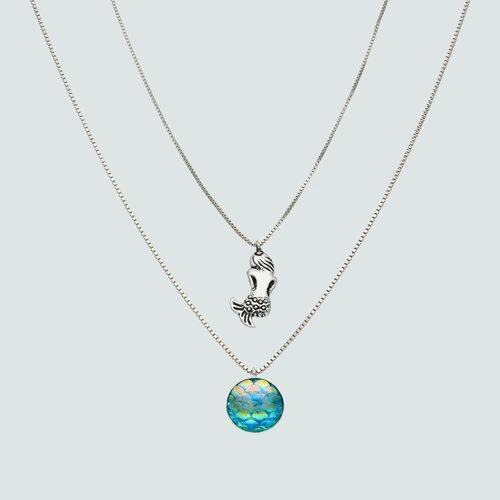 Collar Doble Sirena Cristal Tornasol