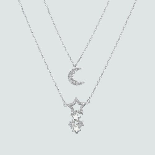 Collar Doble Media Luna Estrellas Circones