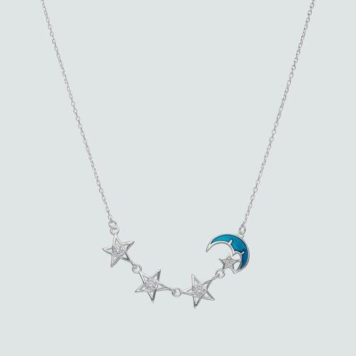 Collar Media Luna Esmaltada Estrellas Circones