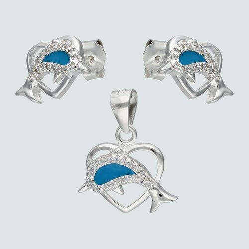 Conjunto Corazón Delfín Esmaltado Circones