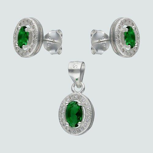 Conjunto Ovalado Circones Esmeralda