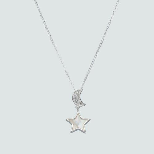 Collar Media Luna Circones Estrella Nacar