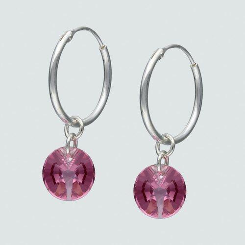 Argolla Hecho con Cristal Swarovski® Rosado 15 mm