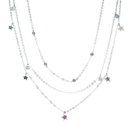 Collar Triple Estrellas Circones Multicolor