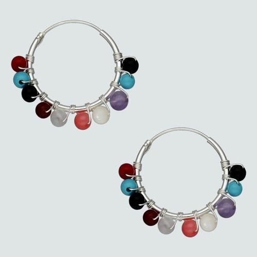 Argolla con Esferas Multicolor 18 mm
