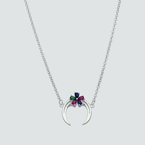 Collar Luna Invertida Flor Circones Multicolor
