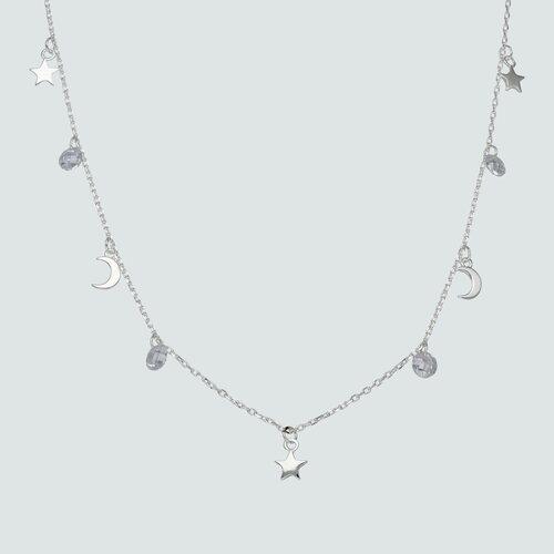 Collar Media Luna Estrella Cristales Hecho con Swarovski®