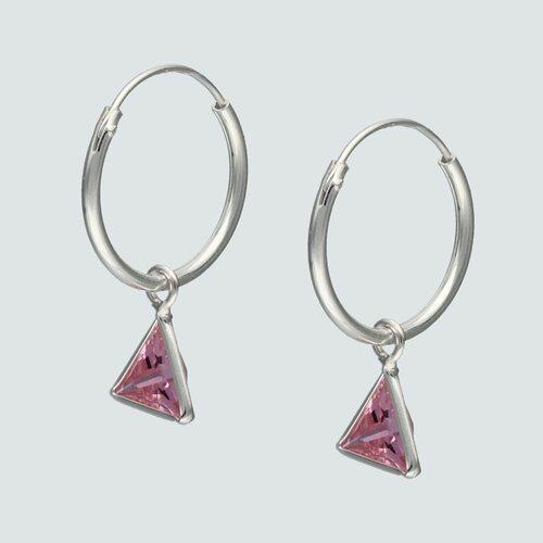 Argolla Triangulo Circón Rosa Francia 14 mm