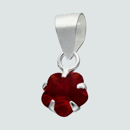 Colgante Flor Circón Rubí 6 mm