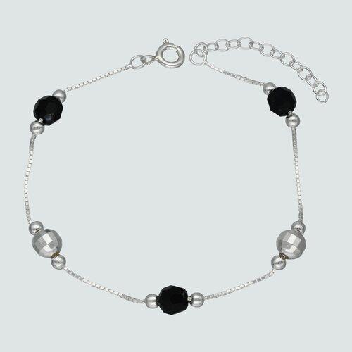 Pulsera Esferas Facetadas Cristales Negros