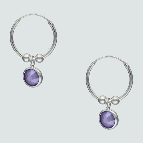 Argolla Esferas Cristal Violeta 16 mm