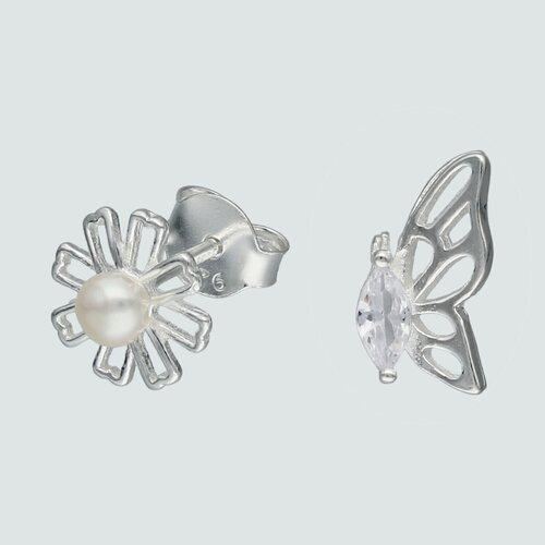 Aro Desigual Mariposa Circón y Flor Perla