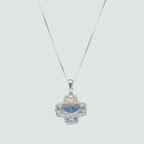 Collar Cruz Hecho con Cristal Swarovski® Tornasol