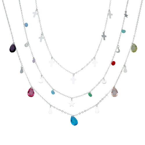 Collar Triple Gotas Hecho con Cristal Swarovski® y Cruces