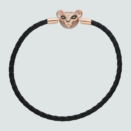 Pulsera para Charm Cuero Negro Leona Circones 19 cm