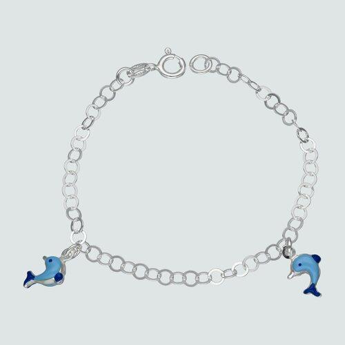Pulsera Delfines Esmaltados 16 cm