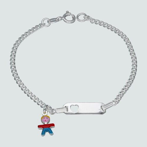 Pulsera Piocha Corazón Grumet Niño Esmaltado 16 cm