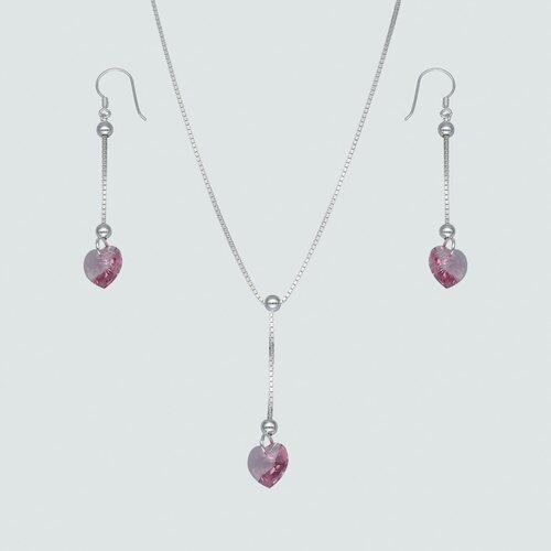 Set Collar y Aro Corazón Hecho con Cristal Swarovski® Rosado
