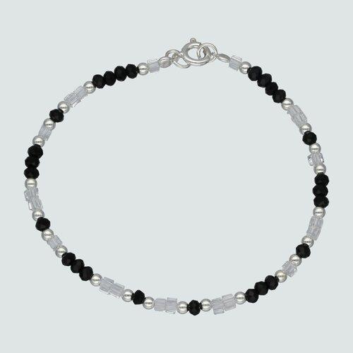 Pulsera Esferas Cristales Negros