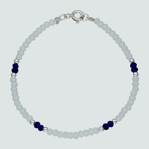 Pulsera Cristales Blancos Azules 17 cm