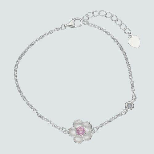 Pulsera Flor Circón Rosa Francia