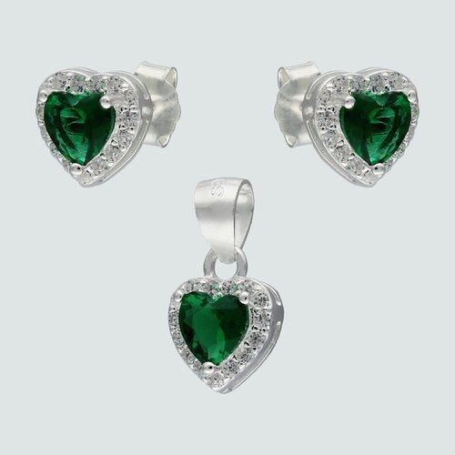 Conjunto Corazón Circón Esmeralda