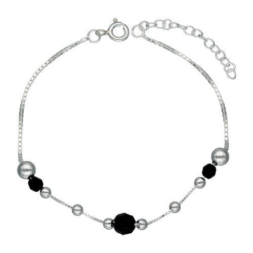 Pulsera Esferas y Cristales Negro