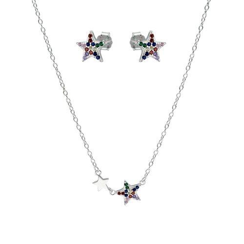 Set Collar y Aro Estrellas Circones Multicolor