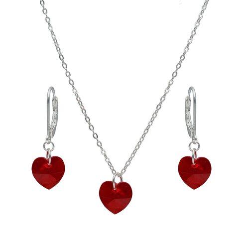 Set Collar y Aro Corazón Hecho con Cristal Swarovski® Rojo