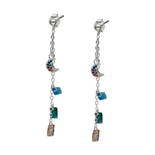 Aro Media Luna Circones y Cristales Multicolor