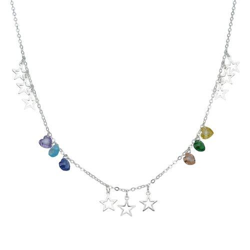 Collar Estrellas y Corazones Hecho con Cristal Swarovski® Multicolor