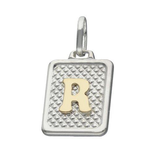 Colgante Rectangular Letra R en Oro