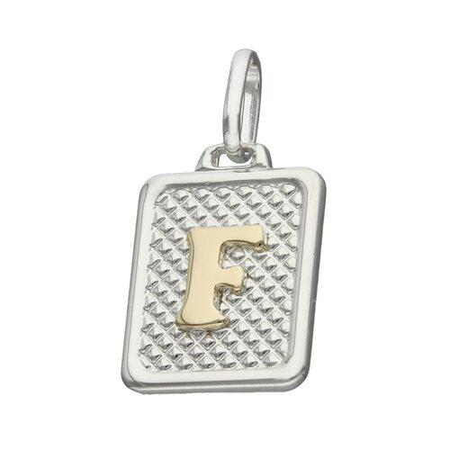 Colgante Rectangular Letra F en Oro