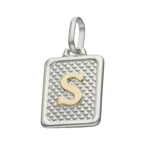 Colgante Rectangular Letra S en Oro