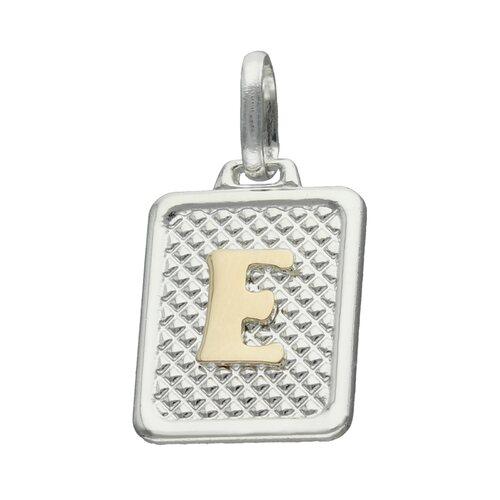 Colgante Rectangular Letra E en Oro