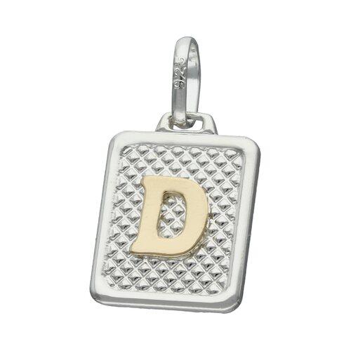 Colgante Rectangular Letra D en Oro