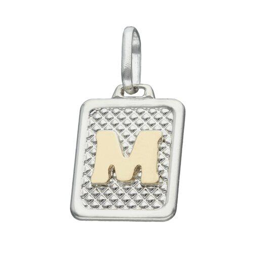 Colgante Rectangular Letra M en Oro