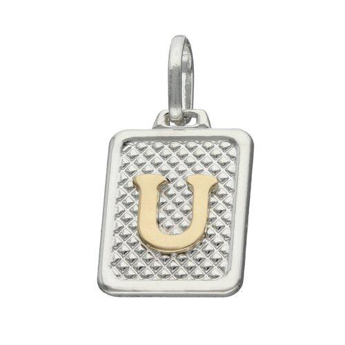 Colgante Rectangular Letra U en Oro