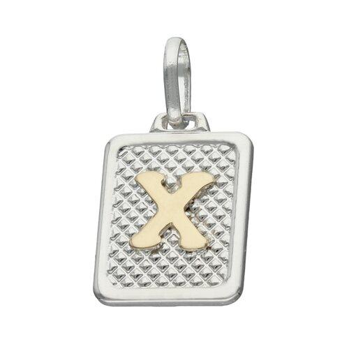 Colgante Rectangular Letra X en Oro