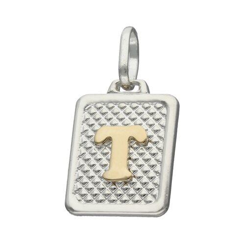 Colgante Rectangular Letra T en Oro