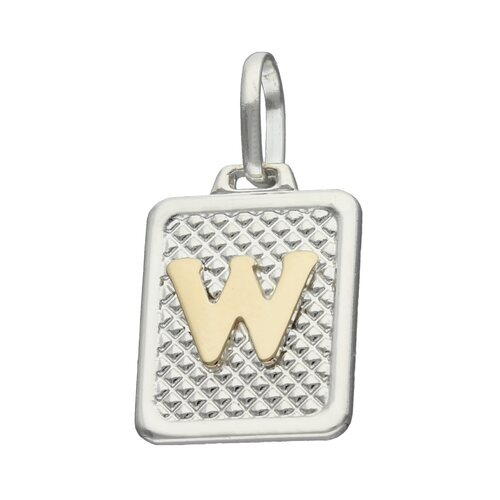 Colgante Rectangular Letra W en Oro