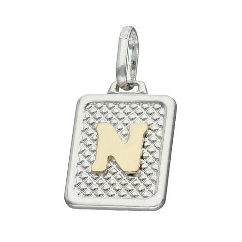 Colgante Rectangular Letra N en Oro