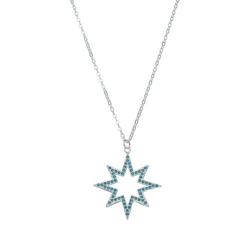 Collar Estrella Fugaz Cristales Celeste